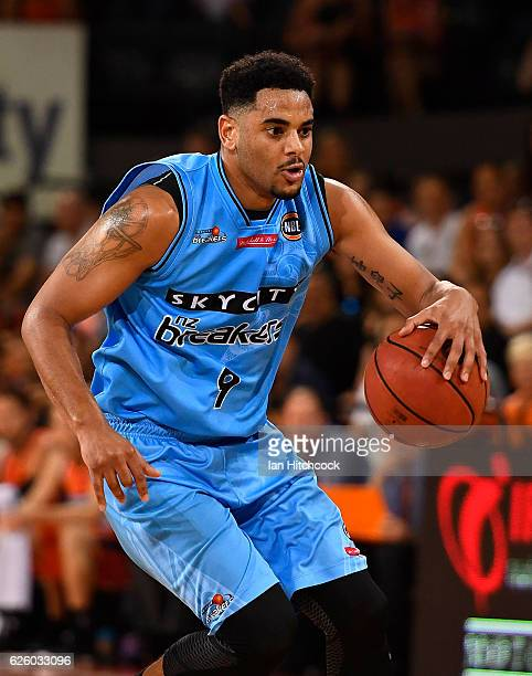 Corey Webster of the Breakers dribbles the ball during the round eight NBL match between the Cairns Taipans and the New Zealand Breakers at Cairns...