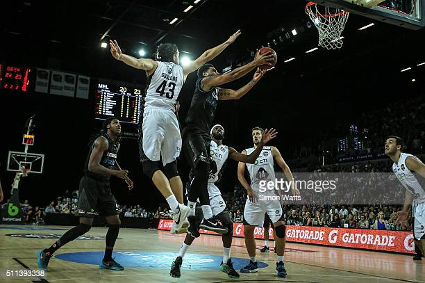 Corey Webster of the Breakers drives to the basket during the NBL Semi Final match between the New Zealand Breakers and Melbourne United at Vector...