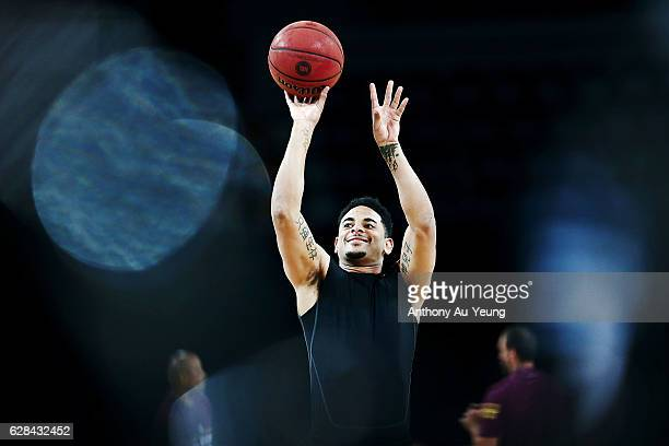 Corey Webster of the Breakers during warm up prior to the round 10 NBL match between the New Zealand Breakers and the Brisbane Bullets at Vector...