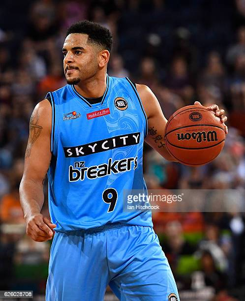 Corey Webster of the Breakers looks to pass the ball during the round eight NBL match between the Cairns Taipans and the New Zealand Breakers at...