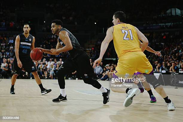 Corey Webster of the Breakers makes a break during the round 10 NBL match between the New Zealand Breakers and the Sydney Kings at Vector Arena on...