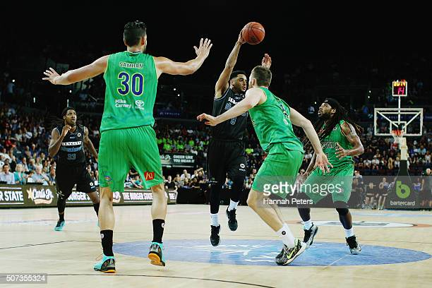 Corey Webster of the Breakers passes the ball during the Round 17 NBL match between the New Zealand Breakers and Townsville Crocodiles at Vector...