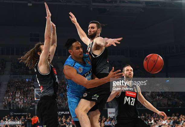 Corey Webster of the Breakers passes the ball during the round one NBL match between Melbourne United and the New Zealand Breakers at Melbourne Arena...