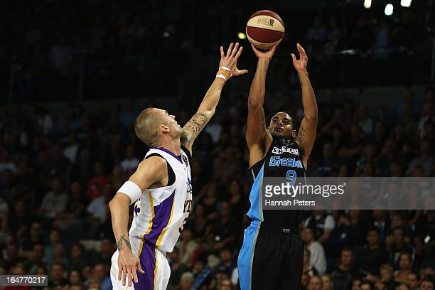 Corey Webster of the Breakers shoots for three points during game one of the NBL Semi Final series between the New Zealand Breakers and the Sydney...