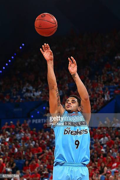 Corey Webster of the Breakers shoots the ball during the round six NBL match between the Perth Wildcats and the New Zealand Breakers at the Perth...