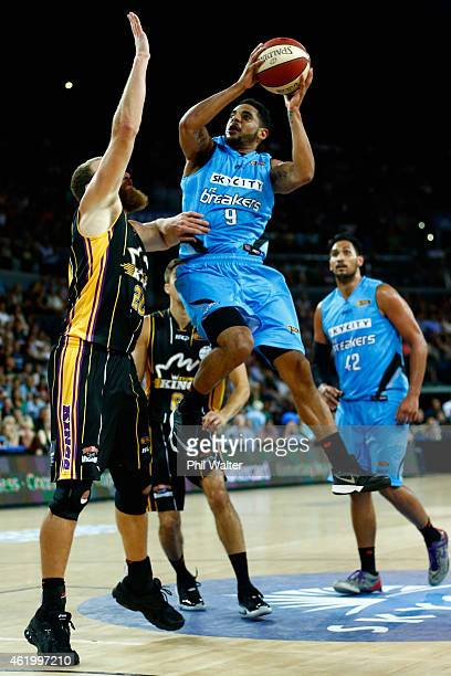 Corey Webster of the Breakers takes a shot during the round 16 NBL match between the New Zealand Breakers and the Sydney Kings at Vector Arena on...