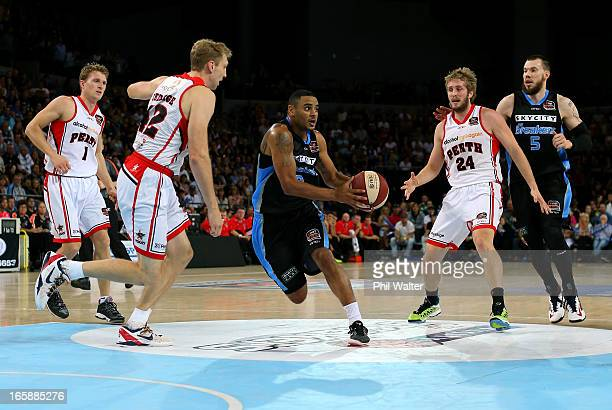 Corey Webster of the Breakers takes the ball up the court during game one of the NBL Grand Final series between the New Zealand Breakers and the...
