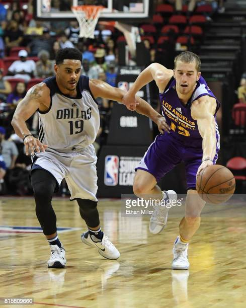 Corey Webster of the Dallas Mavericks tries to steal the ball from Matt Thomas of the Los Angeles Lakers during a semifinal game of the 2017 Summer...