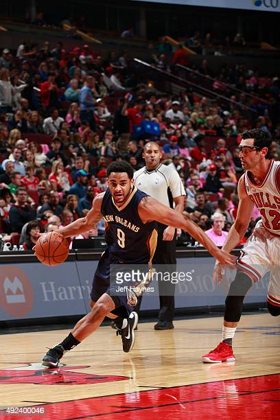 Corey Webster of the New Orleans Pelicans drives to the basket against the Chicago Bulls on October 12 2015 at the United Center in Chicago Illinois...