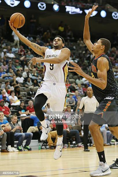 Corey Webster of the New Orleans Pelicans shoots the ball against the Atlanta Hawks during a preseason game on October 9 2015 at the Jacksonville...