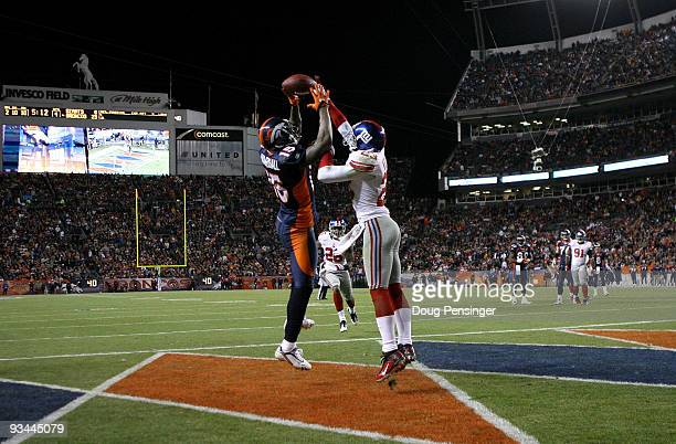 Corey Webster of the New York Giants breaks up a pass in the endzone intended for wide receiver Brandon Marshall of the Denver Broncos during NFL...