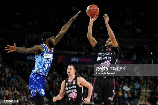 Corey Webster of the New Zealand Breakers shoots during the round 20 NBL match between New Zealand Breakers and Brisbane Bullets at Spark Arena, on...
