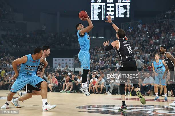 Corey Webster of the New Zealand Breakers shoots the ball during the round nine NBL match between Melbourne United and New Zealand Breakers at...