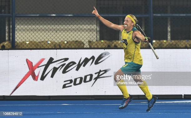 Corey Weyer of Australia celebrates scoring his team's third goal during the FIH Men's Hockey World Cup Group B match between England and Australia...