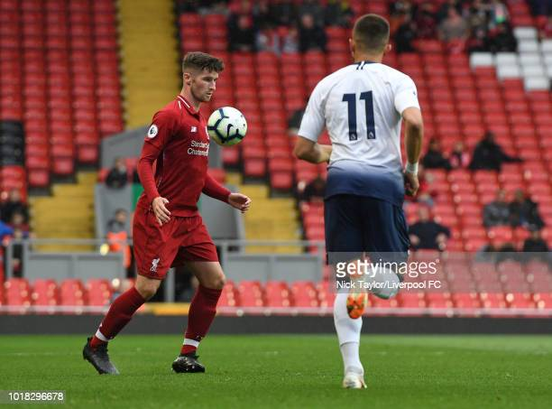 Corey Whelan of Liverpool and Anthony Georgiou of Tottenham Hotspur in action during the Liverpool v Tottenham Hotspur PL2 game at Anfield on August...