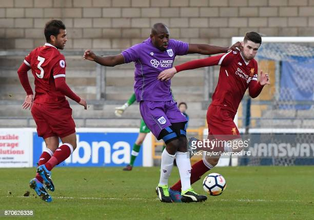 Corey Whelan of Liverpool and Arnie Garita of Bristol City in action during the U23 Premier League Cup between Liverpool and Bristol City at The...