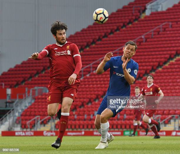 Corey Whelan of Liverpool and Charlie Colkett of Chelsea in action during the Premier League 2 match between Liverpool and Chelsea at Anfield on May...