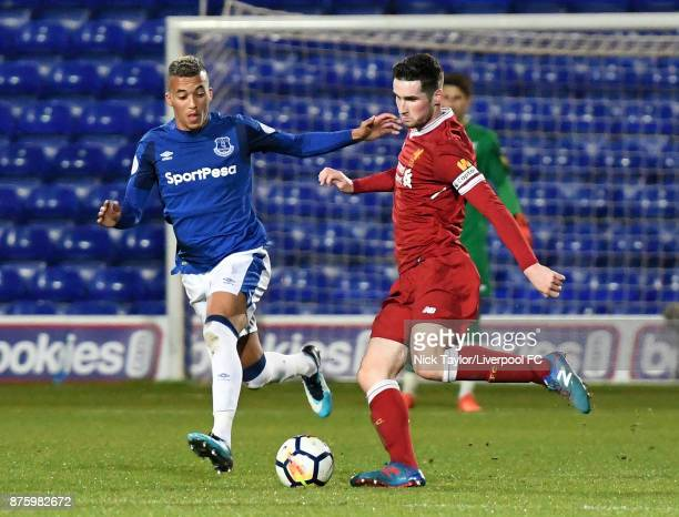 Corey Whelan of Liverpool and David Henen of Everton in action during the Liverpool v Everton Premier League 2 game at Prenton Park on November 18...