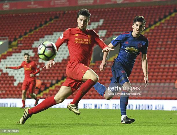 Corey Whelan of Liverpool and Sean Goss of Manchester United in action during the Liverpool v Manchester United Premier League 2 game at Anfield on...