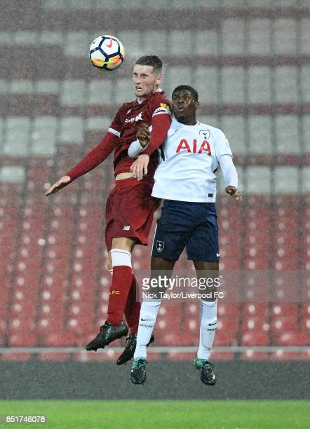 Corey Whelan of Liverpool and Timothy Eyoma of Tottenham Hotspur in action during the Liverpool v Tottenham Hotspur Premier League 2 game at Anfield...