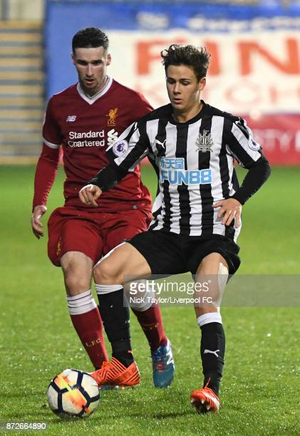 Corey Whelan of Liverpool and Victor Fernandez of Newcastle United in action during the Liverpool U23 v Newcastle United U23 Premier League...