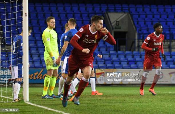 Corey Whelan of Liverpool celebrates scoring the second goal during the Liverpool v Everton Premier League 2 game at Prenton Park on November 18 2017...