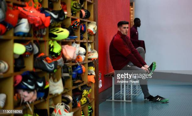 Corey Whelan of Liverpool during a training session at Melwood training ground on February 18 2019 in Liverpool England