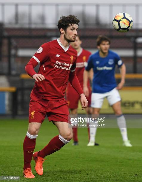 Corey Whelan of Liverpool in action during the Everton v Liverpool PL2 game on April 16 2018 in Southport England