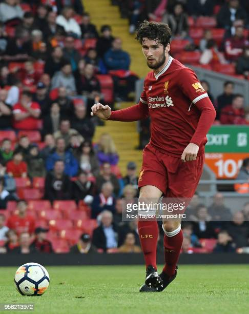 Corey Whelan of Liverpool in action during the Liverpool v Chelsea PL2 game at Anfield on May 8 2018 in Liverpool England
