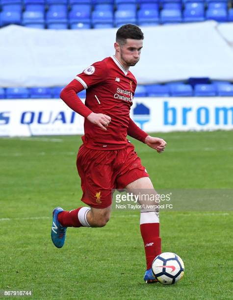 Corey Whelan of Liverpool in action during the Liverpool v Leicester City PL2 game at Prenton Park on October 29 2017 in Birkenhead England