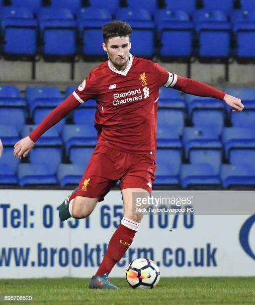 Corey Whelan of Liverpool in action during the Liverpool v PSV Eindhoven Premier League International Cup game at Prenton Park on December 19 2017 in...