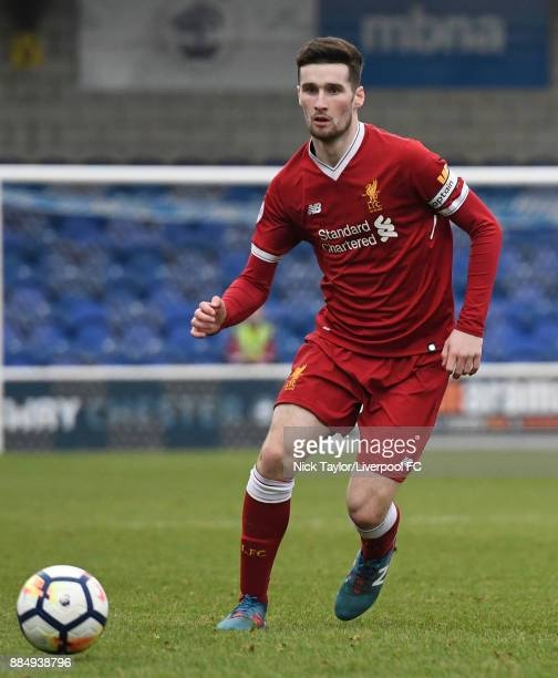 Corey Whelan of Liverpool in action during the Liverpool v Stoke City Premier League Cup game at The Swansway Chester Stadium on December 3 2017 in...