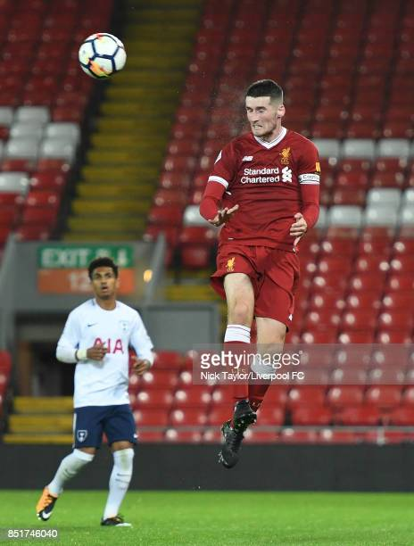 Corey Whelan of Liverpool in action during the Liverpool v Tottenham Hotspur Premier League 2 game at Anfield on September 22 2017 in Liverpool...