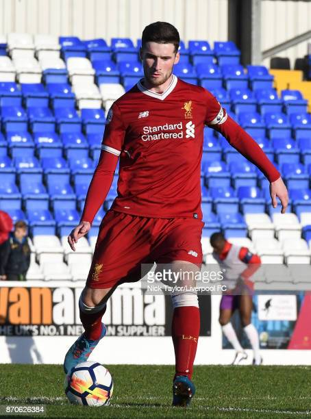 Corey Whelan of Liverpool in action during the U23 Premier League Cup between Liverpool and Bristol City at The Swansway Chester Stadium on November...