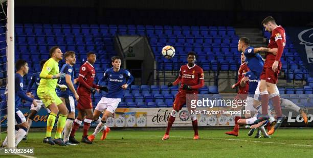 Corey Whelan of Liverpool scores the second goal for Liverpool during the Liverpool v Everton Premier League 2 game at Prenton Park on November 18...