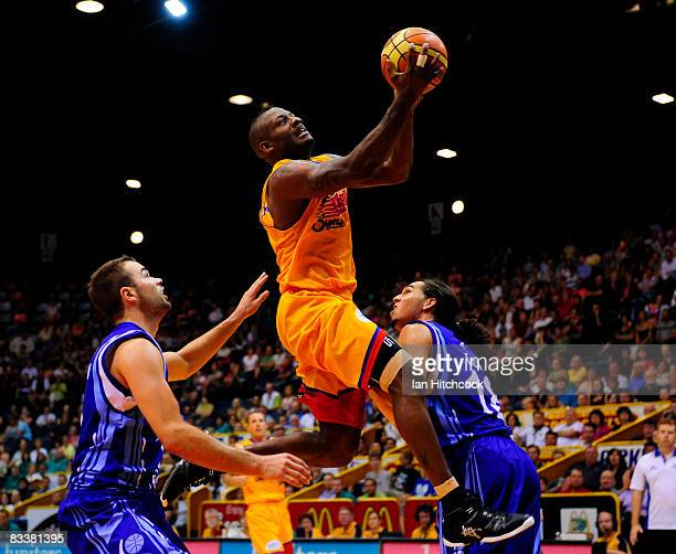 Corey Wiliams of the Crocs jumps over the Spirit defence to make a layup during the round six NBL match between the Townsville Crocodiles and the...