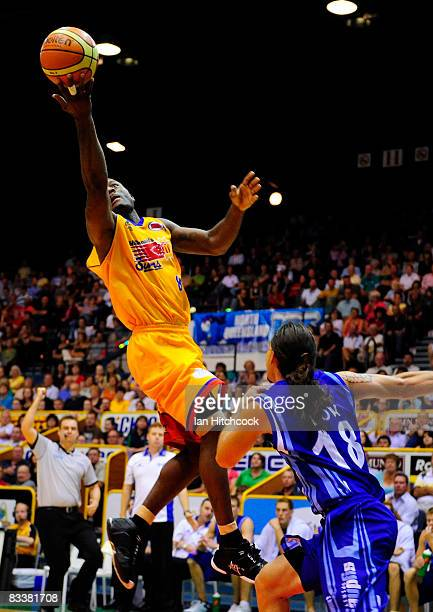 Corey Wiliams of the Crocs makes a layup during the round six NBL match between the Townsville Crocodiles and the Sydney Spirit at the Townsville...