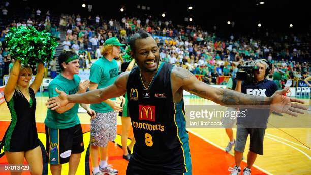 Corey Williams of the Crocodiles acknowledges the crowd after winning game two of the NBL semi final series between the Townsville Crocodiles and the...