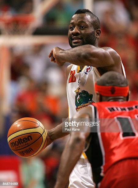Corey Williams of the Crocodiles calls a play during the NBL quarter final match between the Perth Wildcats and the Townsville Crocodiles held at...