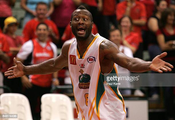 Corey Williams of the Crocodiles gestures to the Wildcats fans after winning the NBL quarter final match between the Perth Wildcats and the...