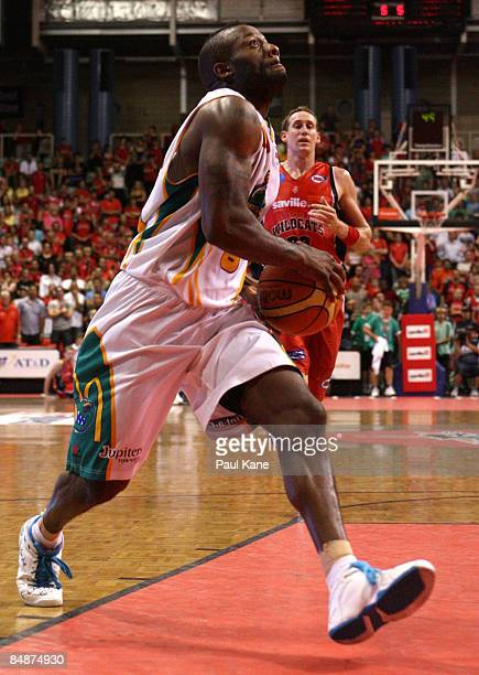Corey Williams of the Crocodiles lays the ball up during the NBL quarter final match between the Perth Wildcats and the Townsville Crocodiles held at...