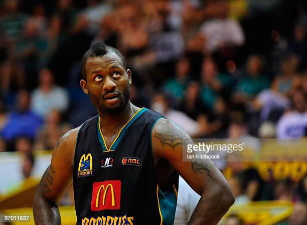Corey Williams of the Crocodiles looks on during the NBL semi final series between the Townsville Crocodiles and the Wollongong Hawks at the...