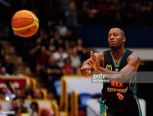 Corey Williams of the Crocodiles makes a pass during the round 15 NBL match between the Townsville Crocodiles and the Gold Coast Blaze at Townsville...