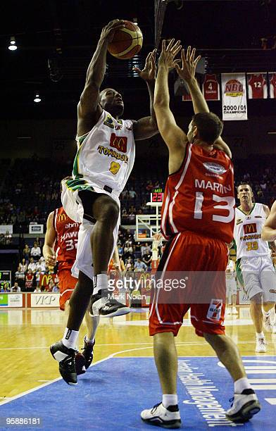 Corey Williams of Townsville drives to the basket during the round 17 NBL match between the Wollongong Hawks and the Townsville Crocodiles at...