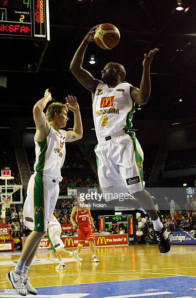 Corey Williams of Townsville rebounds during the round 17 NBL match between the Wollongong Hawks and the Townsville Crocodiles at Wollongong...