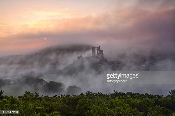 Corfe Castle Autumn mist