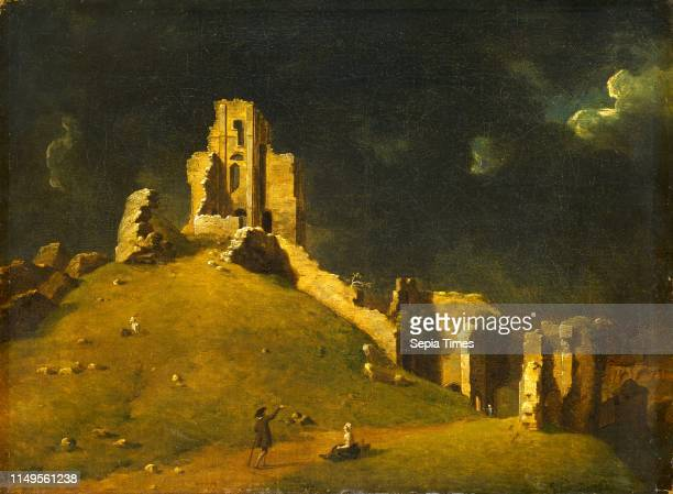 Corfe Castle Dorset Okehampton Castle Signed and dated lower right 'J Richards 1764' John Inigo Richards 17311810 British