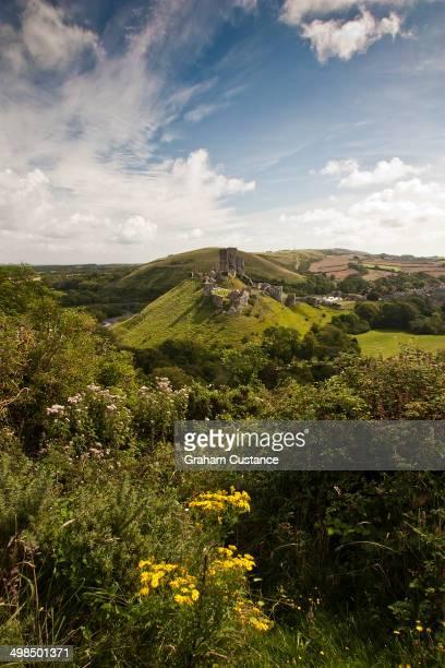 Corfe Castle in Dorset, England.
