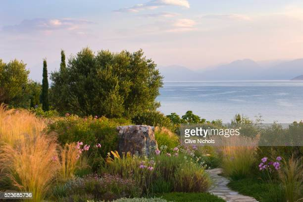 Corfu, Greece - The Kassiopia Estate:View Out to Sea from The Terrace with Path and Planting Scheme