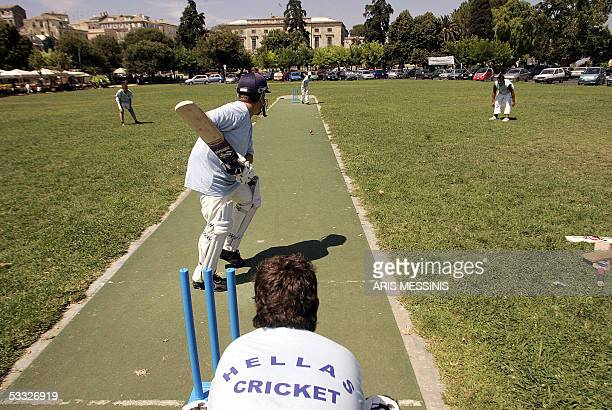 WITH AFP STORY 'With help from Pakistan Greek cricketers batting it out for recognition' A batsman of the Greek national youth cricket team trains on...